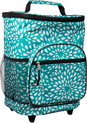 Attractive Insulated Rolling Cooler Bag with Telescoping Handle, 16-inch, 21-quart Wheeled Cooler (Turquiose and White Petals) (Cooler Bag Rolling Insulated)