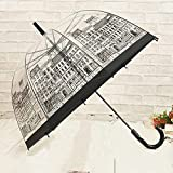 Castle Fashion Umbrella Hyaline Black Pattern Long Handle Sun Rain Umbrella Castle