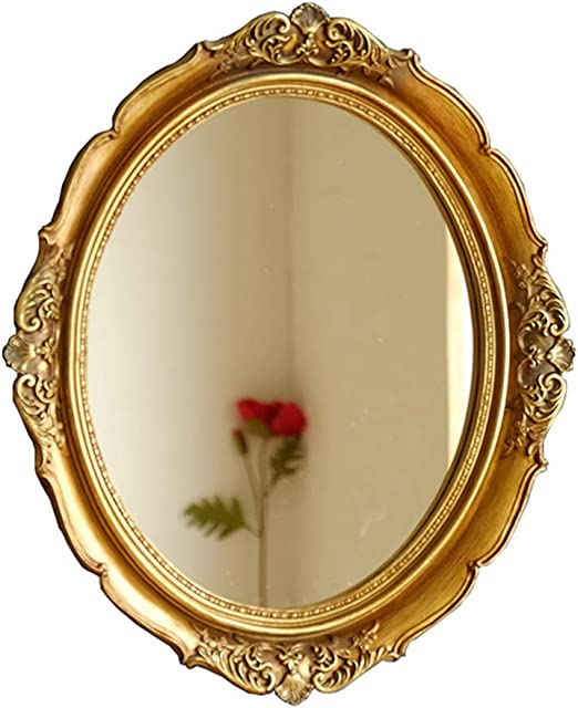 Amazon Com French Antique Gold Oval Wall Mirror Resin Frame With Floral Carved Pattern Decor Bathroom Hanging Vanity Mirror 13 3 15 3 Inch Home Kitchen