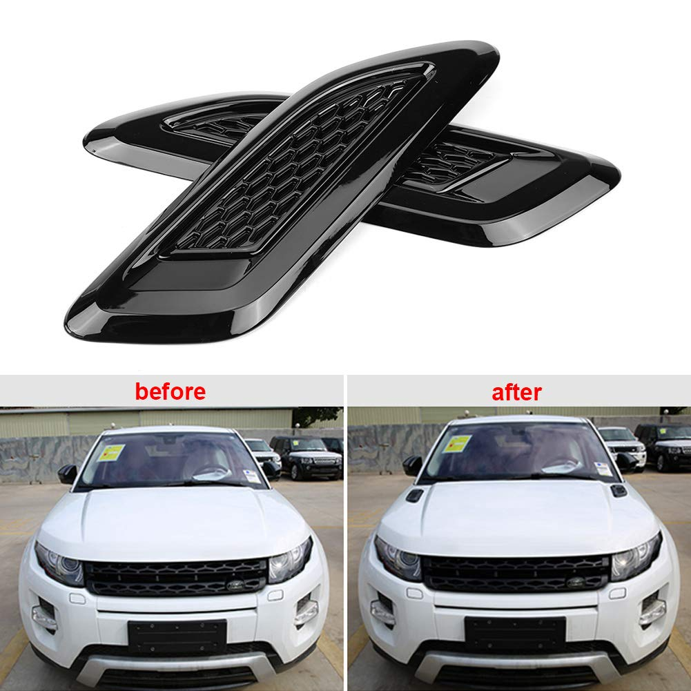 Qiilu Hood Air Vent Outlet Wing Trim Cover Intake Scoop Turbo Bonnet Vent Cover Decor for Land Rover Range Rover Evoque 2012-2018