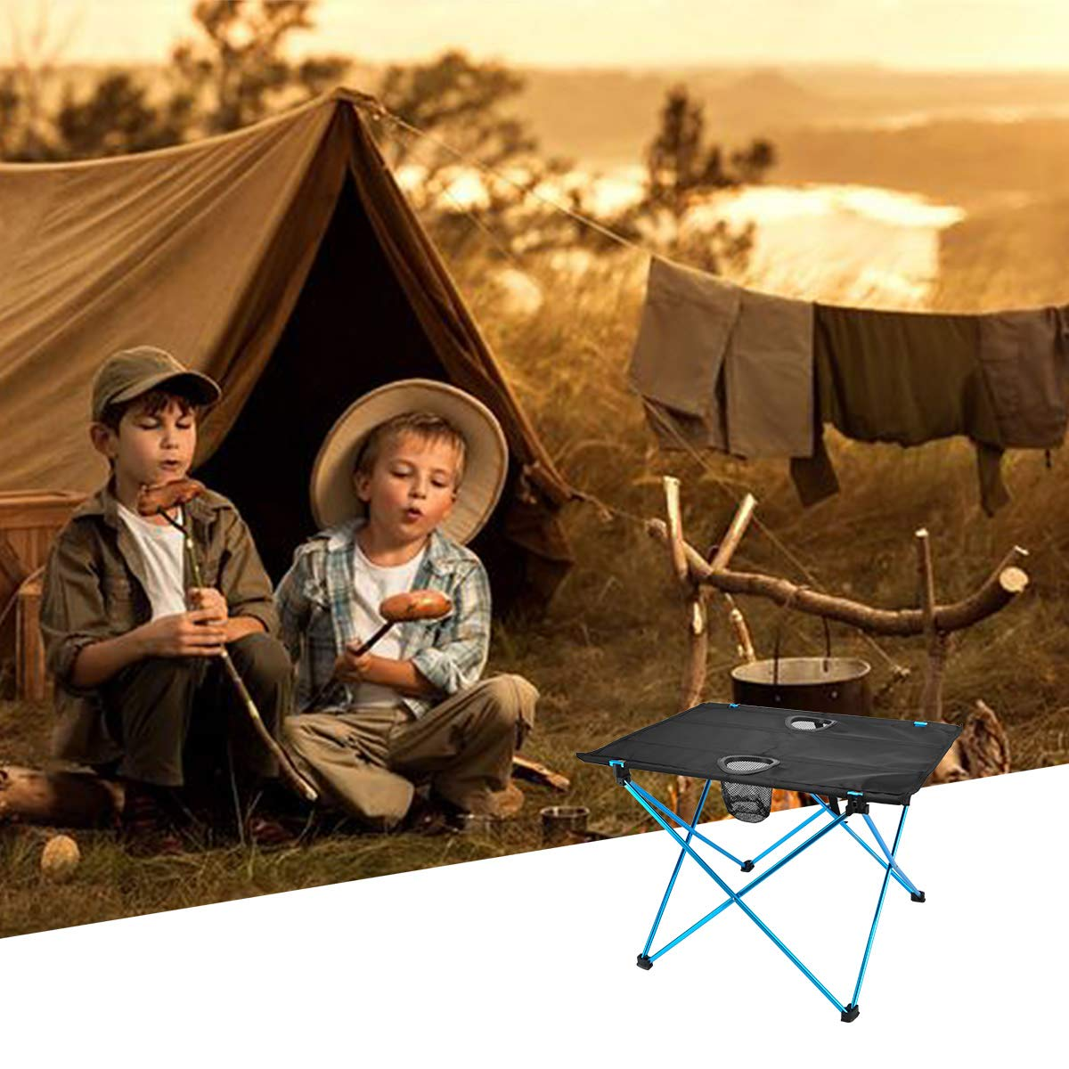 BBQ and Travel with Carry Bag for Picnic Beach YuCheng Portable Camping Side Table Camp Easy to Clean Fold Up Lightweight