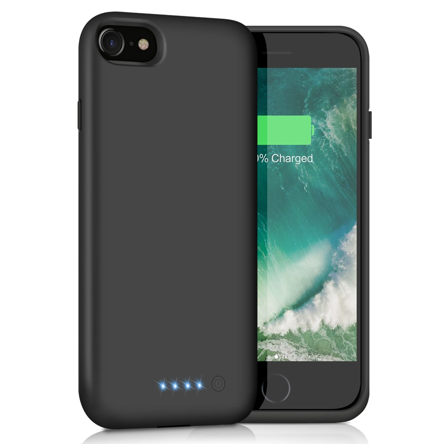 iPhone 8/7 Battery Case [6000mAh], Gixvdcu Rechargeable Portable Protective Charging Case for Apple iPhone 8 & 7 Extended Backup Charger Ultra Slim - Black
