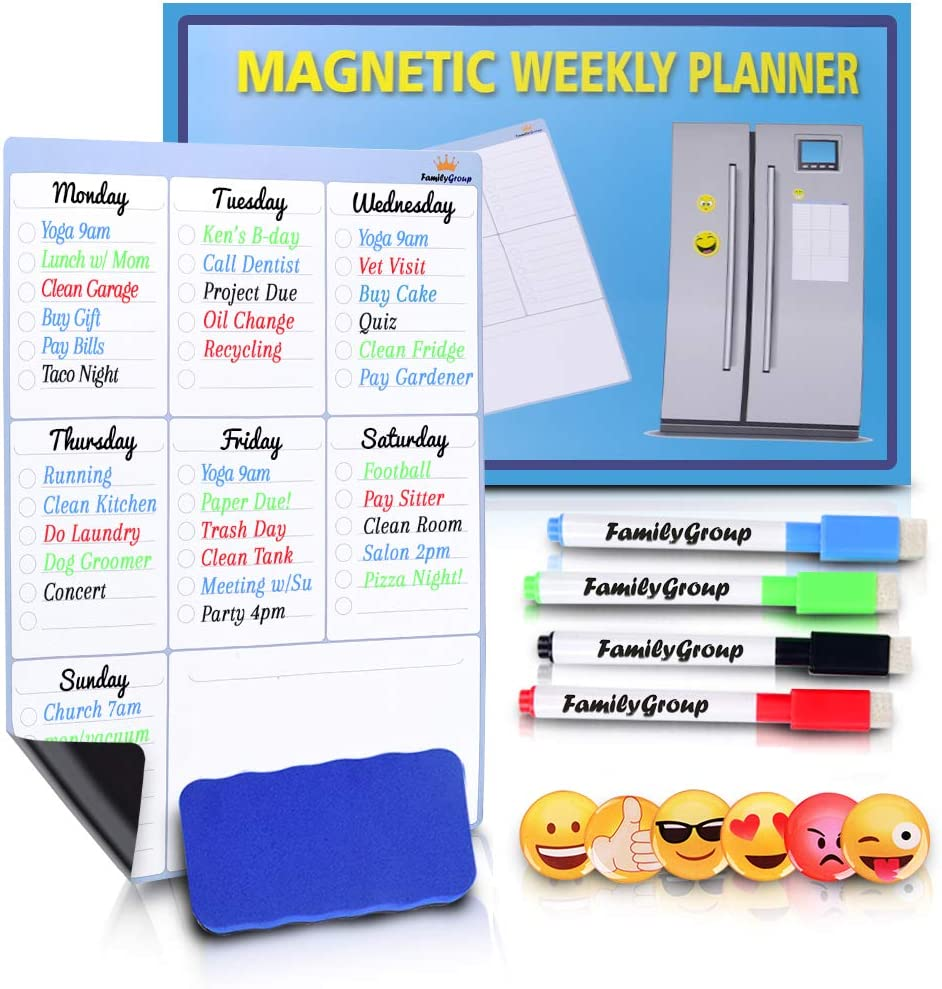 Dry Erase Whiteboard - Magnetic Calendar for Refrigerator - Chore Chart for Kids, Weekly Family Meal Planner, Fridge Notepad with 4 Board Markers and 6 Emoji Magnets