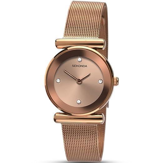 Sekonda Reloj Mujer de Analogico con Correa en Chapado en Acero Inoxidable 2301.27: Amazon.es: Relojes
