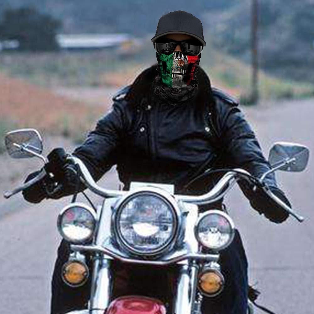 Skull Face Mask,3D Tube Durable Bandana Face Mask for Motorcycle Cycling AC008
