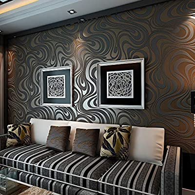 QIHANG Modern Luxury Abstract Curve 3d Wallpaper Roll Mural Papel De Parede Flocking for Striped Black&brown Color Qh-wallpaper 0.7m x 8.4m=5.88?