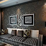 QIHANG Modern Luxury Abstract Curve 3d Wallpaper Roll Mural Papel De Parede Flocking for Striped Black&brown Color 0.7m*8.4m=5.88SQM