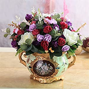 SituMi Artificial Flower The Rose Camellia Home Decorating Small Vase Ted Golden Flower Vases Tables Silk Ornaments, Purple 25