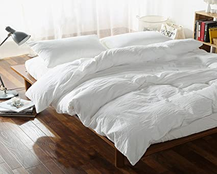 100% Washed Linen Duvet Cover French Flax Linen Bedding White Color    Seamless Softened (