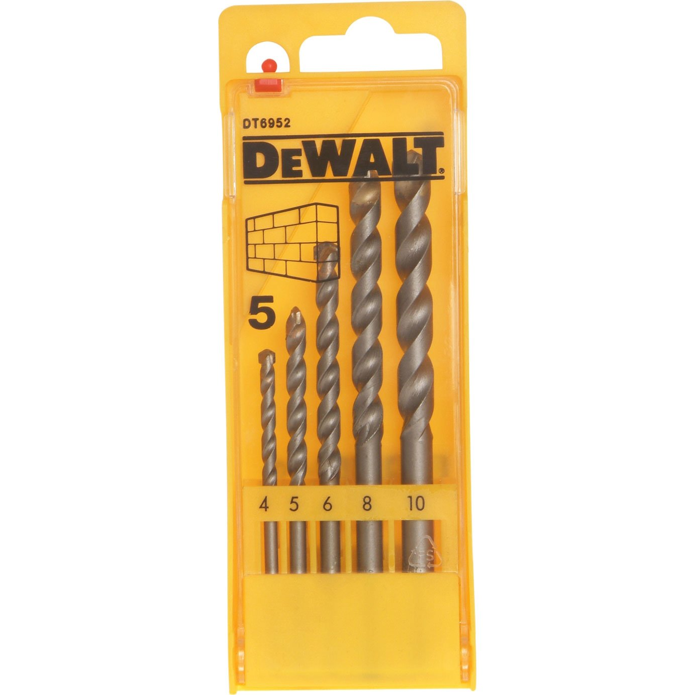 Elite Choice DeWalt 5 Piece Masonry Drill Bit Set 4 - 10mm [Multi Set] - Min 3yr Warranty Dewalt GB
