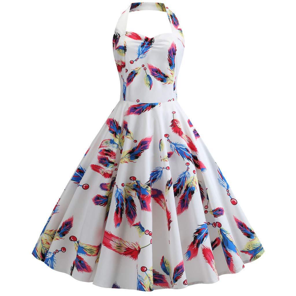 1950s Vintage Cocktail Dress Vintage Polka Halter Dress Floral Sping Retro Rockabilly Cocktail Dress Knee Length Swing Dress Womens Summer Dress