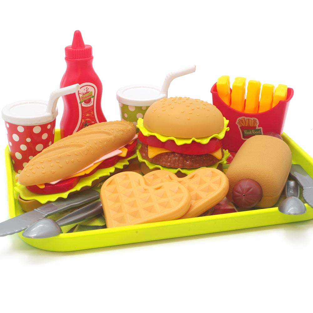U DREAM Pretend Play Food Set , Removable Food Toys Burger Combo and Assortment by U DREAM
