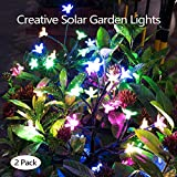 Solar Garden Decorative Lights Outdoor,Beautiful LED Solar Powered Fairy Landscape Tree Lights,Two Mode Flower Lights for Pathway Patio Yard Deck Walkway Christmas Decoration (Multicolor 2pack)