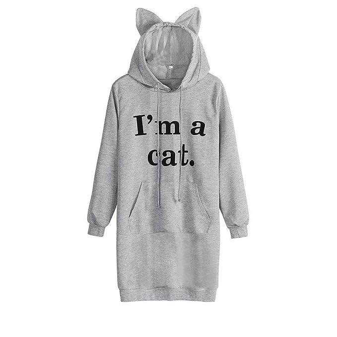 Mujer Sudadera Tumblr Larga con Capucha Gato Oreja 1M A Cat Sudaderas para Adolescentes Chicas Camiseta de Manga Larga Blusa Camisa Pullovers: Amazon.es: ...
