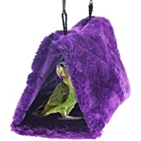 SAPPSEN Winter Warm Plush Pet Bird Hut Nest Hammock Hanging Cage Warm Nest Happy Snuggle Cave Tent Sun Conure Green Cheek Bird Parrot Shed Hammock (Purple)