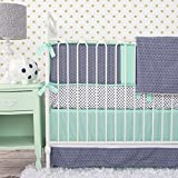 Caden Lane Mint and Navy Chevron 2 Piece Crib Bedding Set