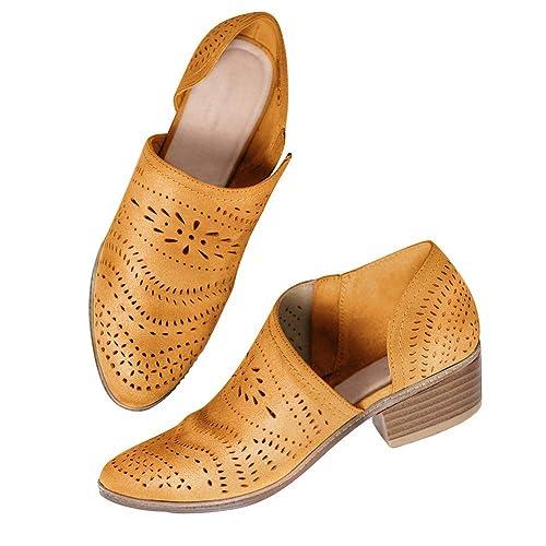 Sara Love Botines Mujer Tacón Botas de Tacón Bajo Casual Ponerse Oficina Botín de Vestir Elegante: Amazon.es: Zapatos y complementos