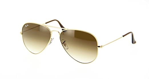 56a2e16938aed Ray-Ban Aviator Unisex Sunglasses Gold Frame Light Brown Gradient Lenses.  58mm (standard