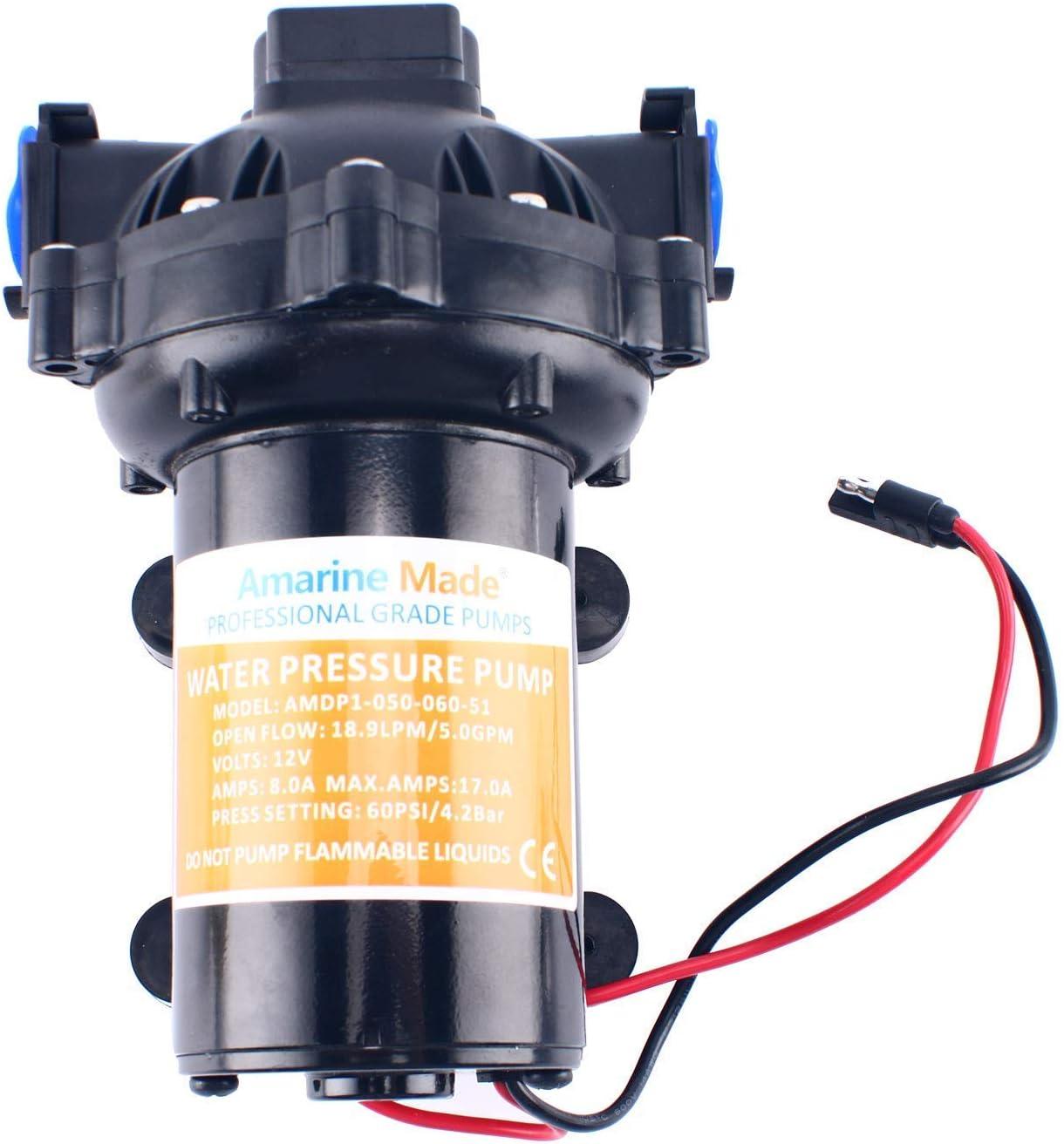 New  Amarine-made 12v Water Pressure Diaphragm Pump 18.9 L//min 5.0 Gpm 60 Psi