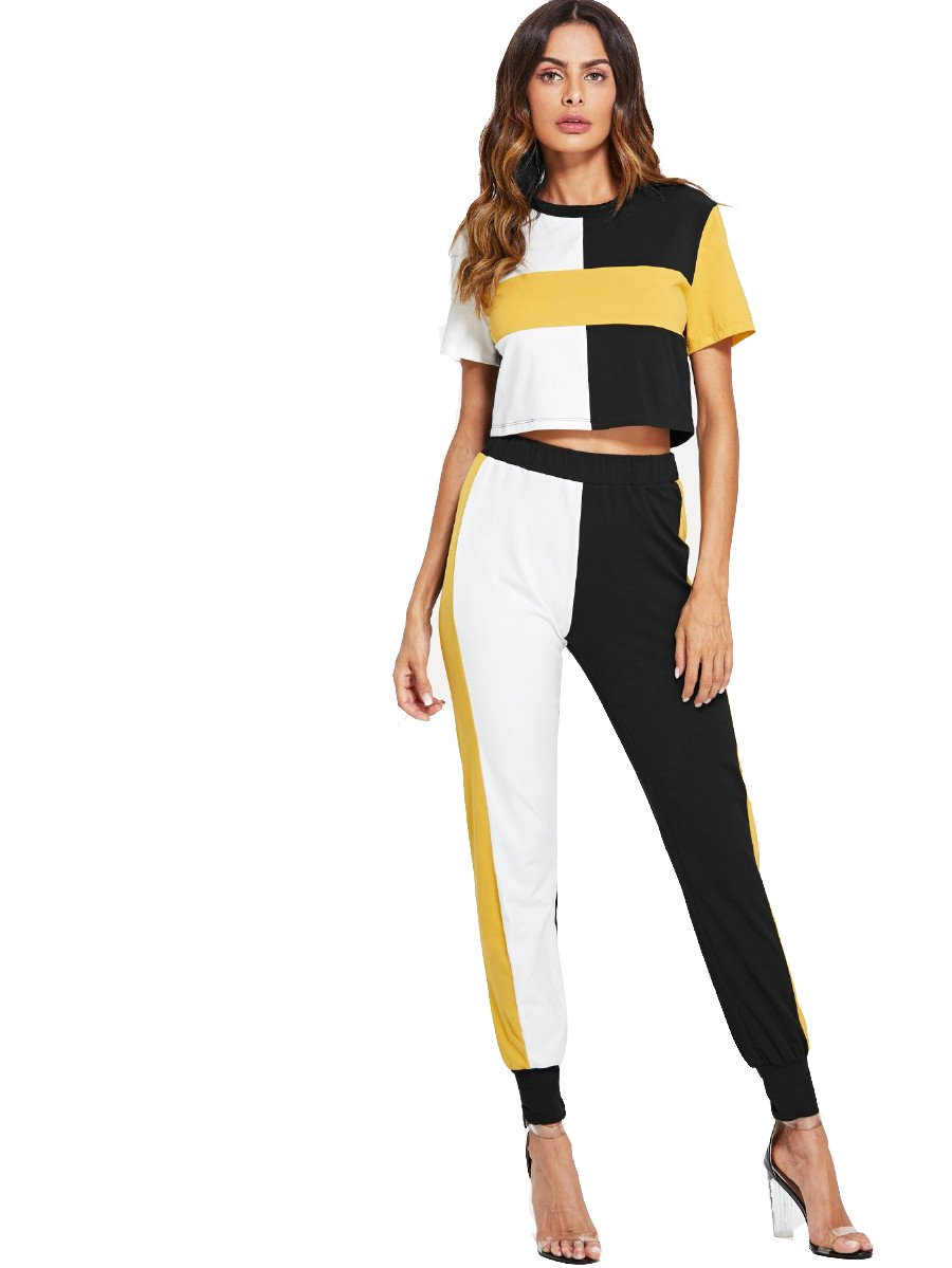SweatyRocks Sweatsuits for Women Casual 2 Piece Outfits Color Block Crop Tops and Sweatpants Tracksuits Color block S