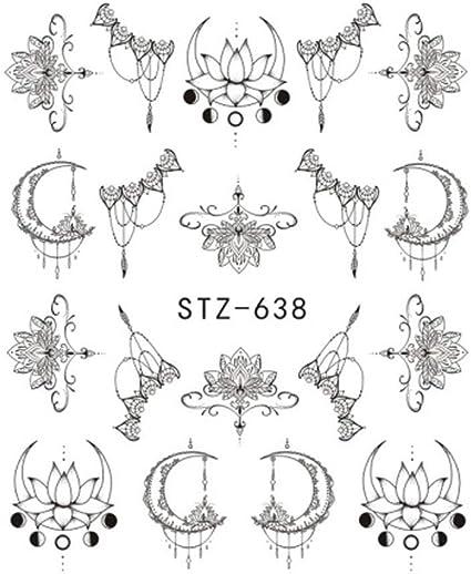 Lidahaotin Resumen Nail Adhesivo Simple Tuercas Tatuajes Flor Luna ...