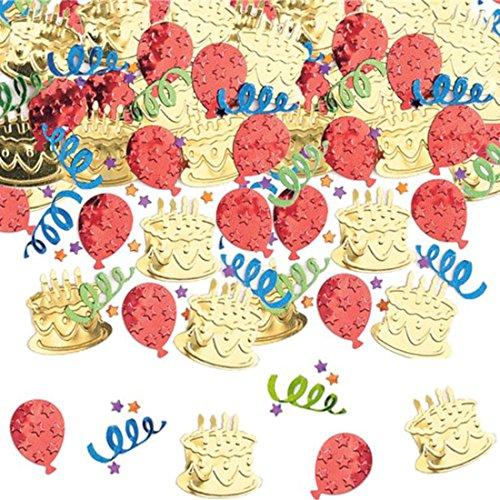 (Amscan Birthday Cake & Balloons Embossed Metallic Table Confetti)