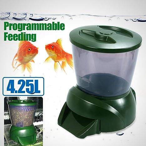 Dispensador de comida programable para peceras, 4,25 litros, pantalla LCD digital