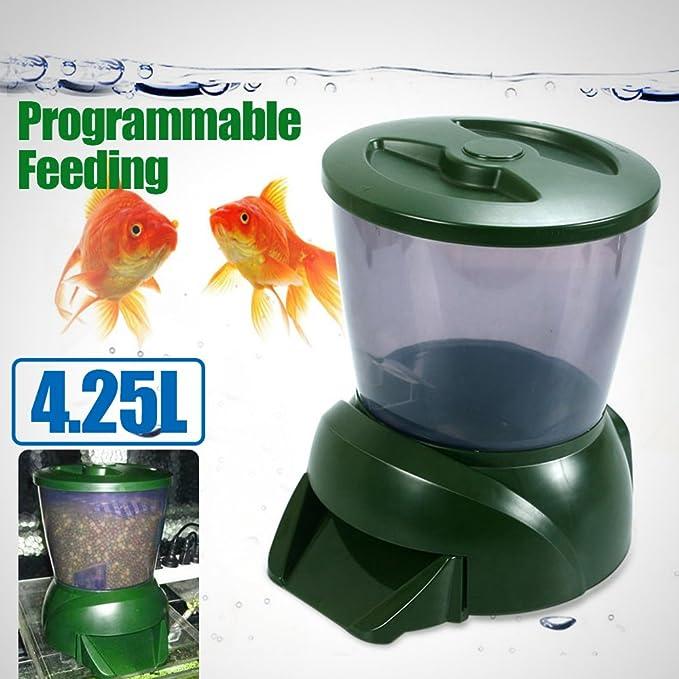 Dispensador de comida programable para peceras, 4,25 litros, pantalla LCD digital: Amazon.es: Productos para mascotas