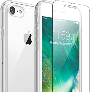 FlexGear Clear Case for iPhone 7 8 SE (2020) and Glass Screen Protector (Clear)