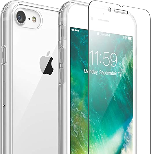 Amazon Com Flexgear Clear Case For Iphone 7 8 Se 2020 And Glass Screen Protector Clear