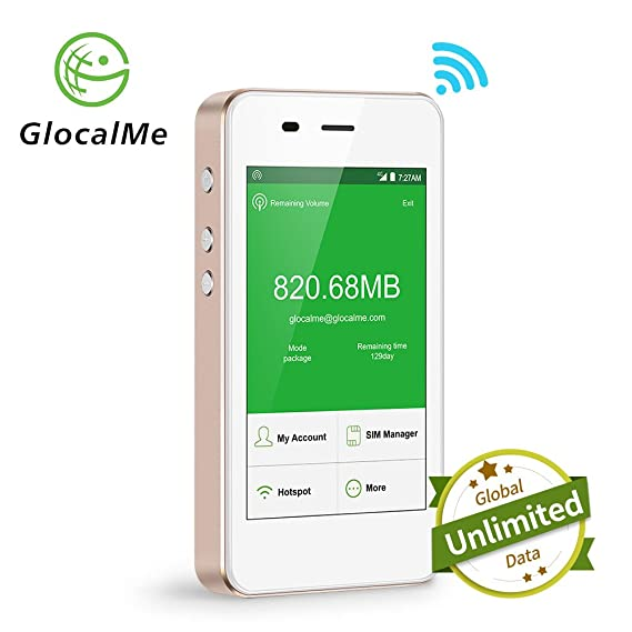 GlocalMe Mobile Hotspot, 4G High Speed Unlimited Data Plan Global WIFI  Hotspot, SIM Free No Roaming Charges & Unlocked Internet Access for Travel  and