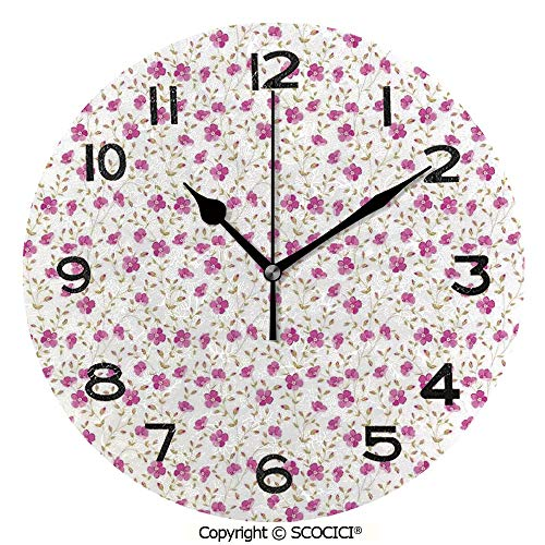 (SCOCICI Round Wall Clock Peony in Vintage Style Girly Sweet Curly Stems Happy Times Engagement Theme Decorative 10 inch Morden Wall Clocks Silent Round Decorative Clock)