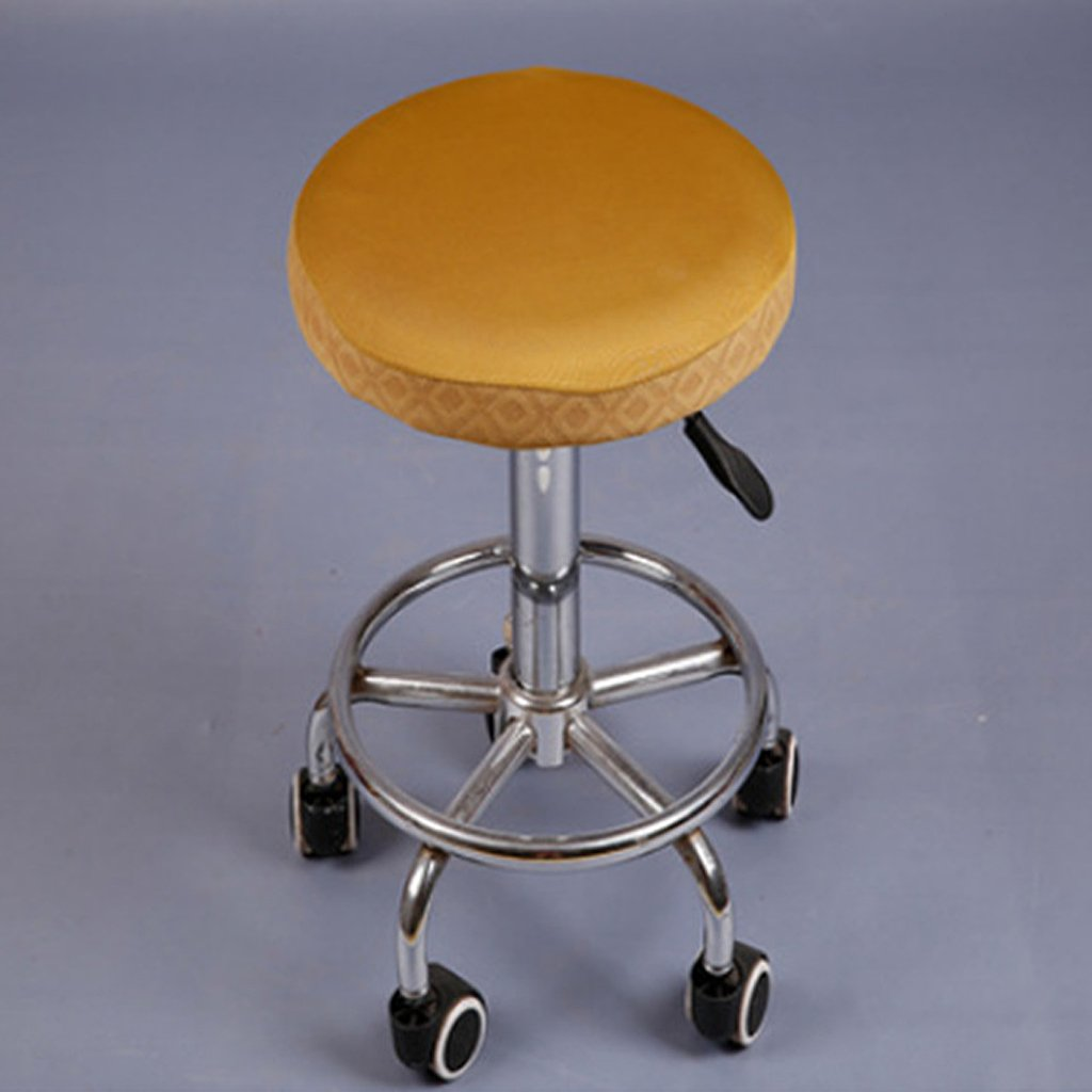 Homyl 10Pcs 28-35cm/11-14'' Bar Stool Cover Round Chair Seat Cover Sleeve Elastic Fabric 8 Colors Available - Gold