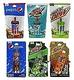 Set of 7 Novelty Pepsi Lip Balms! Soda Bottle Balms and Cup Top Lip Balms! Mountain Dew and Pepsi Flavored Lip Balms! (Set 7 Lip Balms)