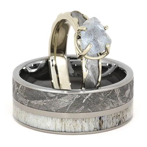 Diamond, meteorito Gibeon, 10 K oro blanco anillo de compromiso y banda de meteorito
