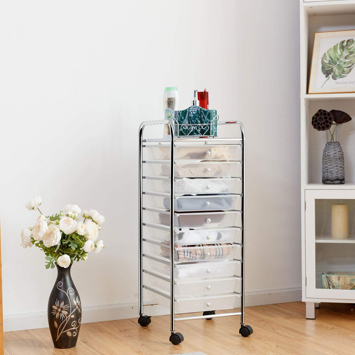 Giantex 10 Drawer Rolling Storage Cart Scrapbook Paper Office School Organizer (Clear) by Giantex (Image #3)