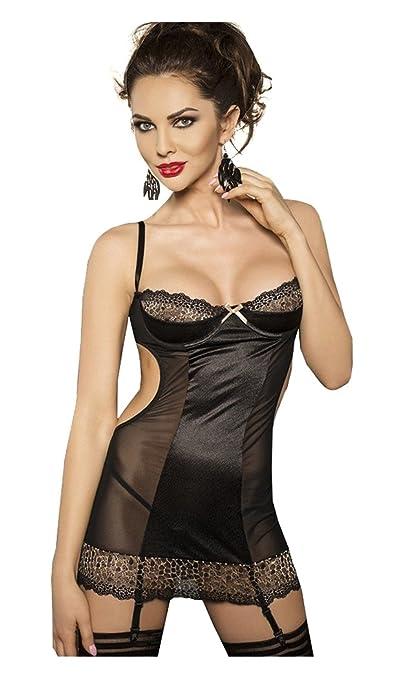 Passion Ceres - Pack de 2 vestidos lenceros de tirantes, espalda descubierta, transparencias,