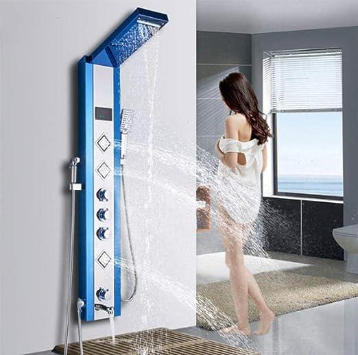 Nuevo Lujo Azul Baño Cepillado Ducha Grifo LED Panel De Ducha ...