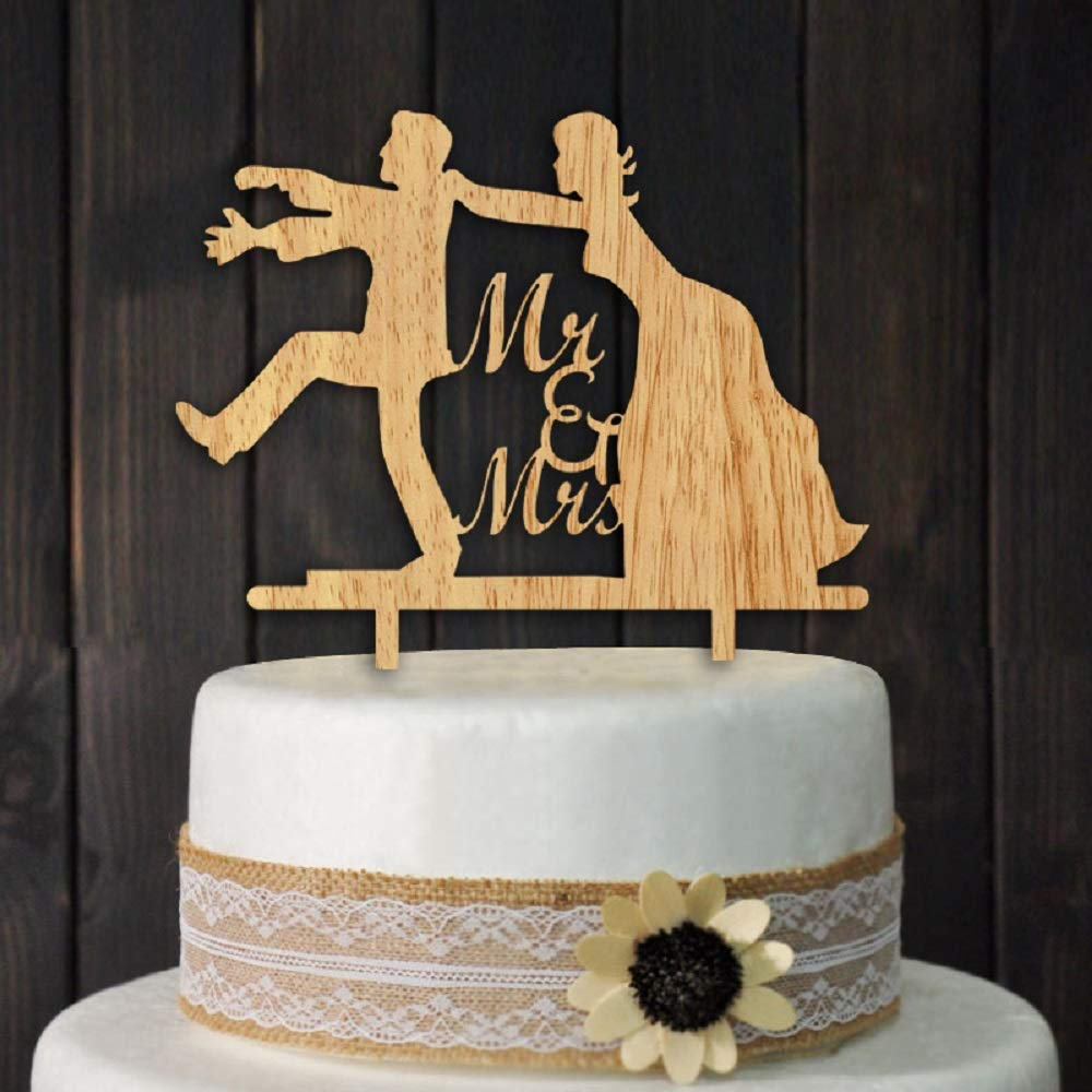 Mr and Mrs Wedding Cake Toppers Funny Bride and Groom Wood Wedding Aniversary Party Engagement Decoration