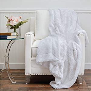The Connecticut Home Company Faux Fur with Sherpa Reversible Throw Blanket, Many Colors, Super Soft, Large Plush Luxury Blankets, Warm Hypoallergenic Washable Couch or Bed Throws, 65x50, White