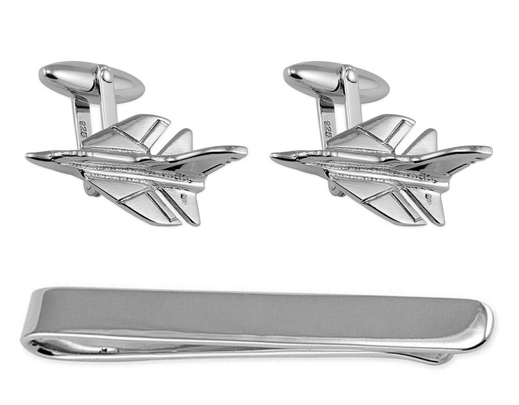 Sterling Silver Fighter Jet Cufflinks Tie Clip Box Set