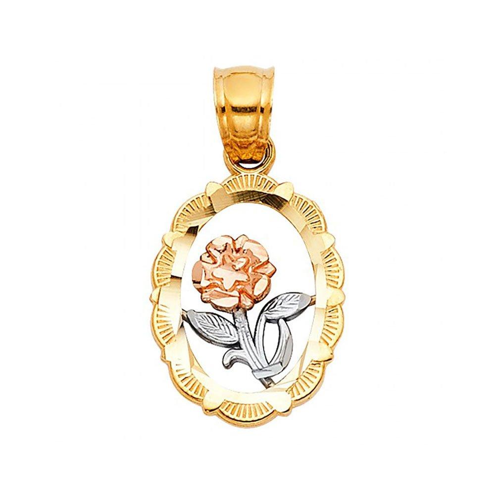 American Set Co 14k Tri-Color Gold Flower Pendant Charm