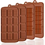 4 Pack Silicone Chocolate Molds, SENHAI 2 Types of Break Apart Non-Stick Candy Protein and Energy Bar Mold Baking Tray
