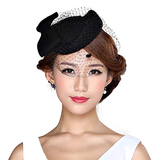 6d41da0dde1 Fascinator Hat for Women Wool Felt Hat Ladies Elegant Veil Pillbox Hats  Vintage Church Fedoras Black