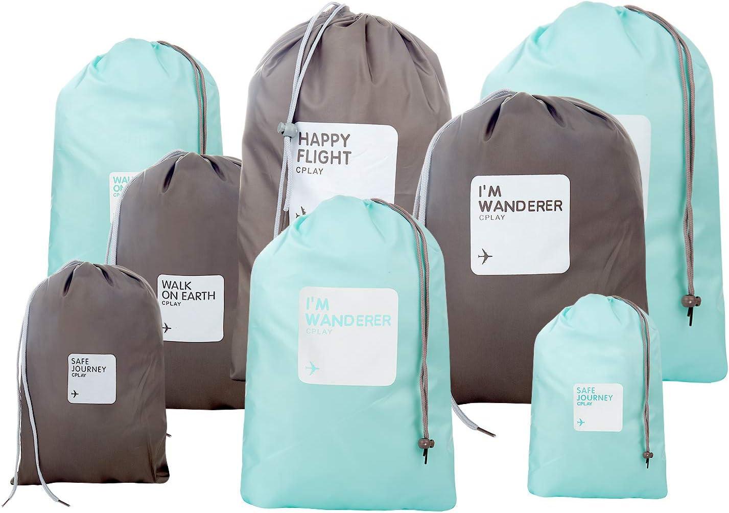 Organizadores para Maletas, Comius 8 Piezas Bolsos de Lazo del Almacenaje para Viajar, Bolsa de lavandería Bolsas de compresión de Equipaje Bolsa en el Organizador de Bolsa para la (Pure Color)