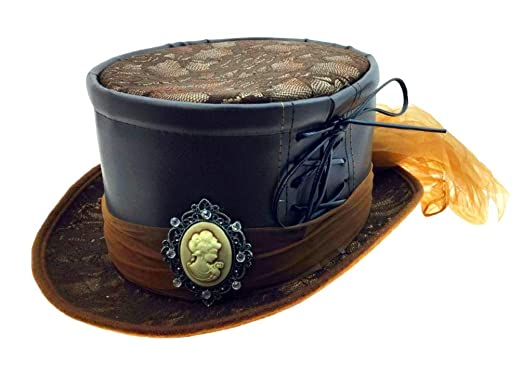 15af8d10df7fe Amazon.com: Deluxe Brown Steampunk Top Hat with Cameo & Lace ...