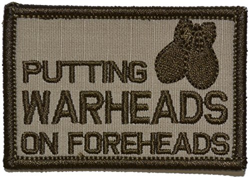 Putting Warheads on Foreheads 2x3 Morale Patch - Multiple Color Options (Desert Tan)