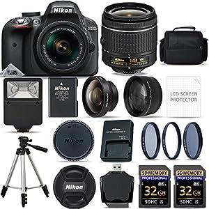 Nikon D3300 Digital SLR Camera AF-P 18-55mm VR Lens Kit - Black + 64GB SD Memory Card + Flash + 3 Piece Filter Kit + Tripod + Full Accessory Bundle