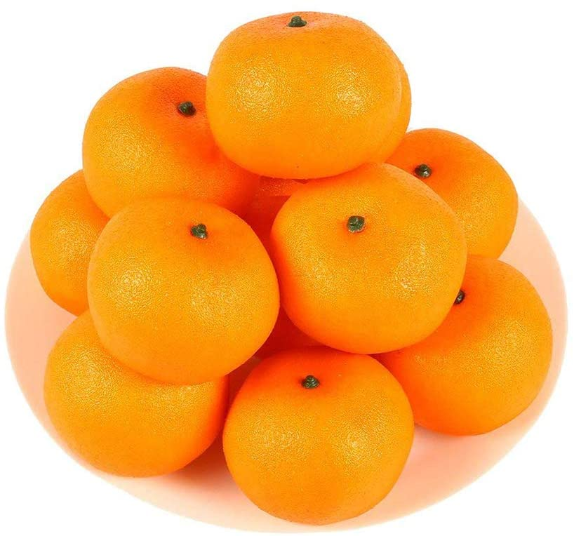 HAKSEN 12 PCS Artificial Lifelike Simulation Oranges Fake Fruit Home Kitchen Cabinet Decoration
