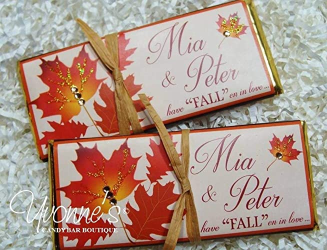 fall wedding candy bar wrappers personalized wrappers for chocolate bars autumn foliage leaves theme